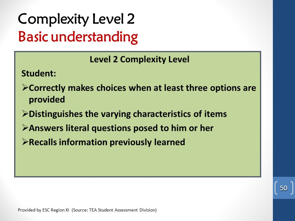Complexity Level 2 Basic understanding Level 2 Complexity Level Student:  Correctly makes choices when at least three options are provided  Distingu