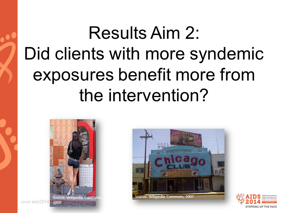 www.aids2014.org Results Aim 2: Did clients with more syndemic exposures benefit more from the intervention? Source: Wikipedia Commons, 2009 Source: W