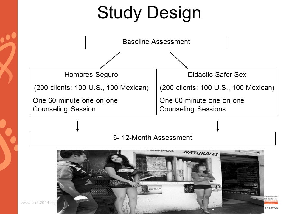 www.aids2014.org Study Design Baseline Assessment Hombres Seguro (200 clients: 100 U.S., 100 Mexican) One 60-minute one-on-one Counseling Session 6- 12-Month Assessment Didactic Safer Sex (200 clients: 100 U.S., 100 Mexican) One 60-minute one-on-one Counseling Sessions