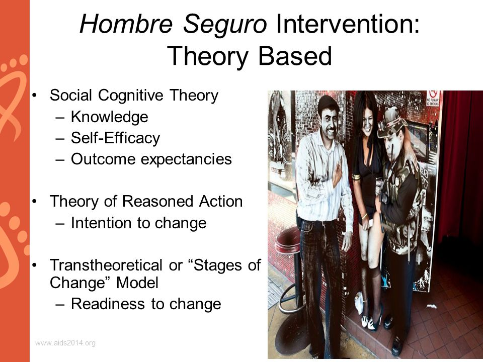 www.aids2014.org Hombre Seguro Intervention: Theory Based Social Cognitive Theory –Knowledge –Self-Efficacy –Outcome expectancies Theory of Reasoned Action –Intention to change Transtheoretical or Stages of Change Model –Readiness to change