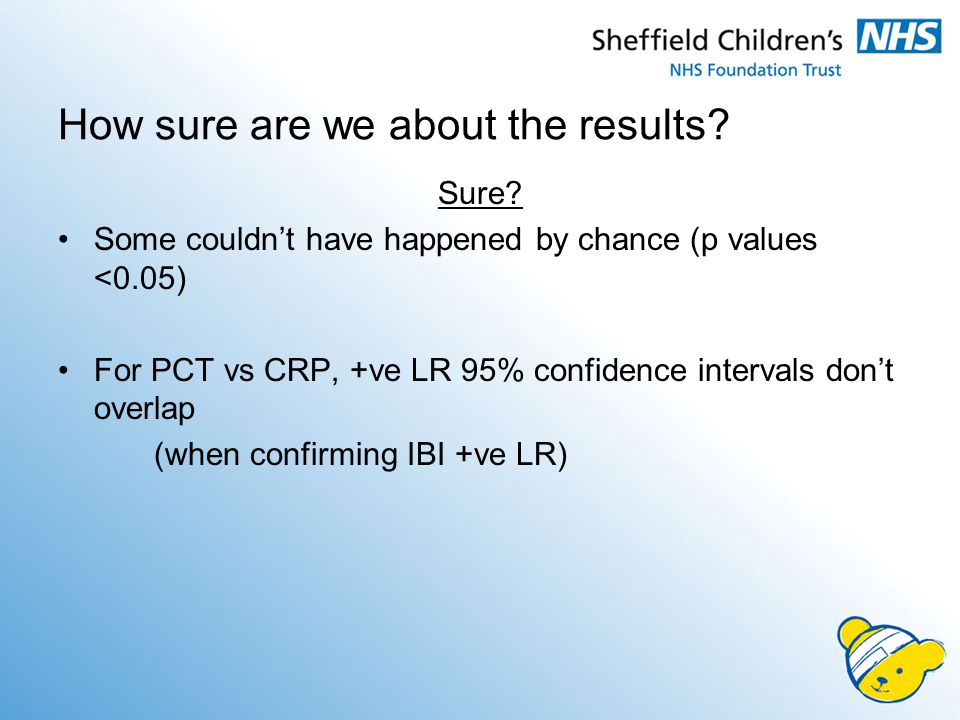 How sure are we about the results? Sure? Some couldn't have happened by chance (p values <0.05) For PCT vs CRP, +ve LR 95% confidence intervals don't