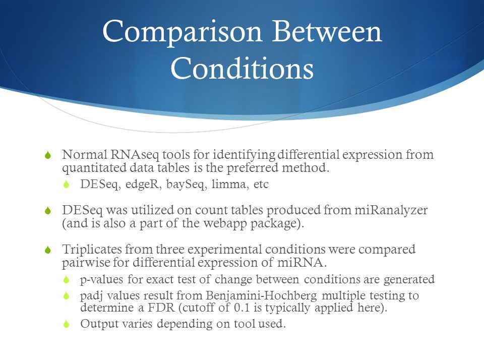 Comparison Between Conditions  Normal RNAseq tools for identifying differential expression from quantitated data tables is the preferred method.  DE