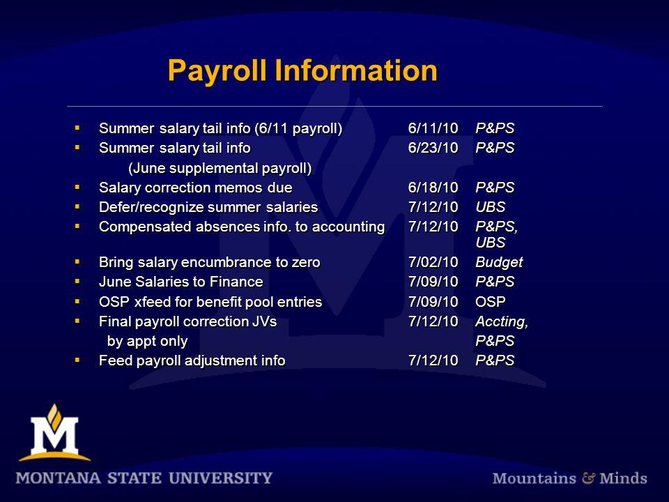 Payroll Information  Summer salary tail info (6/11 payroll)6/11/10P&PS  Summer salary tail info 6/23/10P&PS (June supplemental payroll)  Salary cor