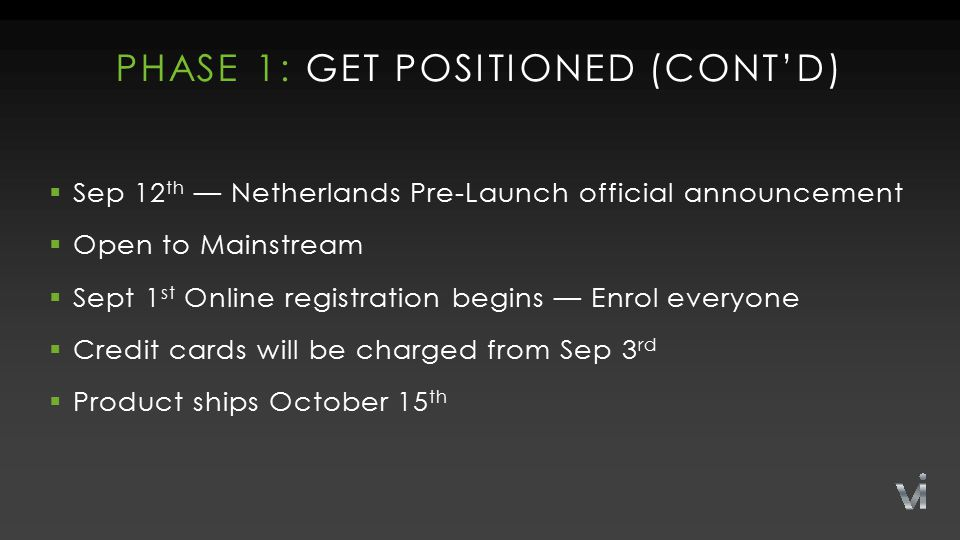 PHASE 1: GET POSITIONED (CONT'D)  Sep 12 th — Netherlands Pre-Launch official announcement  Open to Mainstream  Sept 1 st Online registration begins — Enrol everyone  Credit cards will be charged from Sep 3 rd  Product ships October 15 th