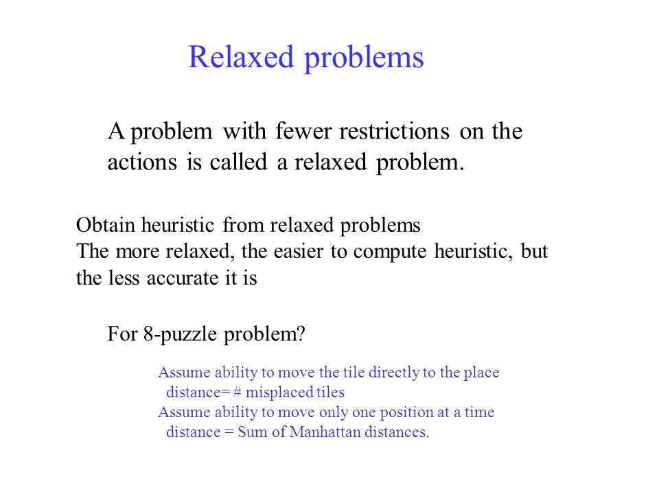 Relaxed problems Obtain heuristic from relaxed problems The more relaxed, the easier to compute heuristic, but the less accurate it is For 8-puzzle problem.