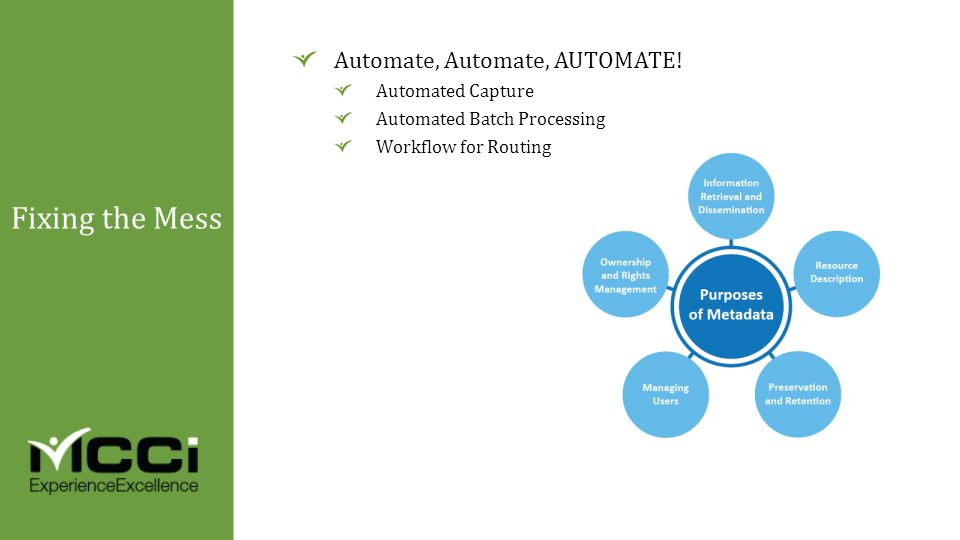 Automate, Automate, AUTOMATE! Automated Capture Automated Batch Processing Workflow for Routing Fixing the Mess