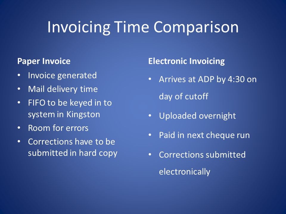 Invoicing Time Comparison Paper Invoice Invoice generated Mail delivery time FIFO to be keyed in to system in Kingston Room for errors Corrections have to be submitted in hard copy Electronic Invoicing Arrives at ADP by 4:30 on day of cutoff Uploaded overnight Paid in next cheque run Corrections submitted electronically
