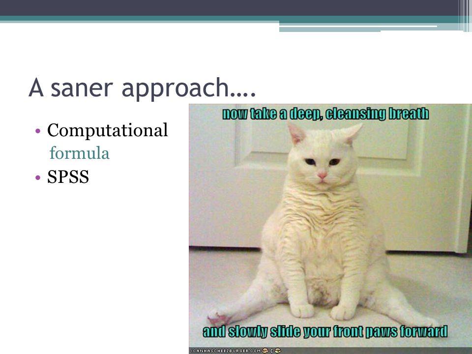 A saner approach…. Computational formula SPSS
