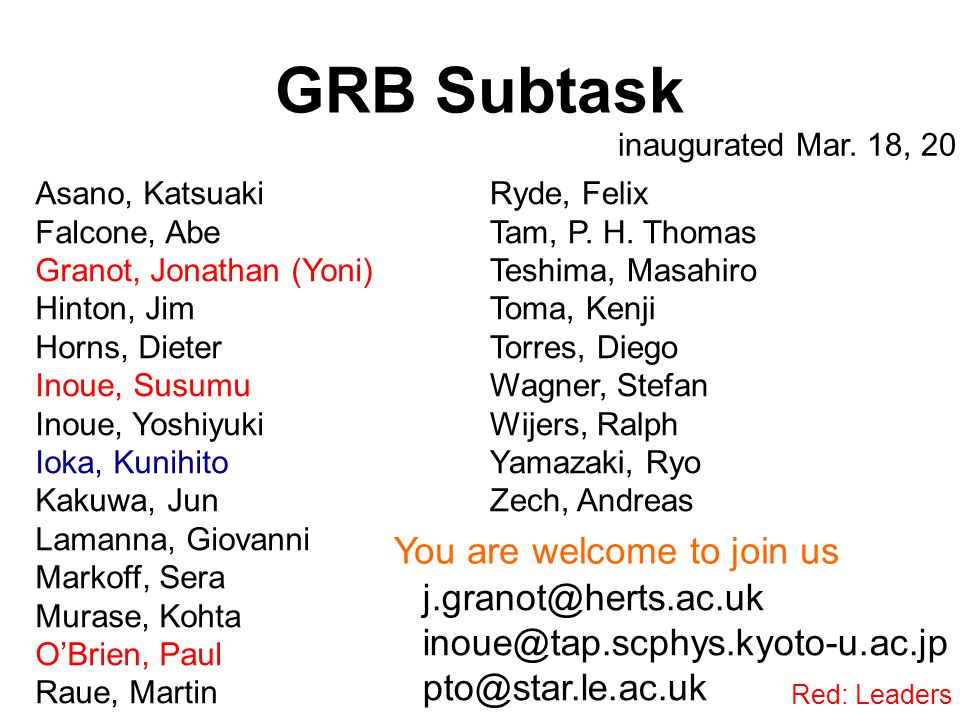 GRB Subtask j.granot@herts.ac.uk inoue@tap.scphys.kyoto-u.ac.jp pto@star.le.ac.uk inaugurated Mar.