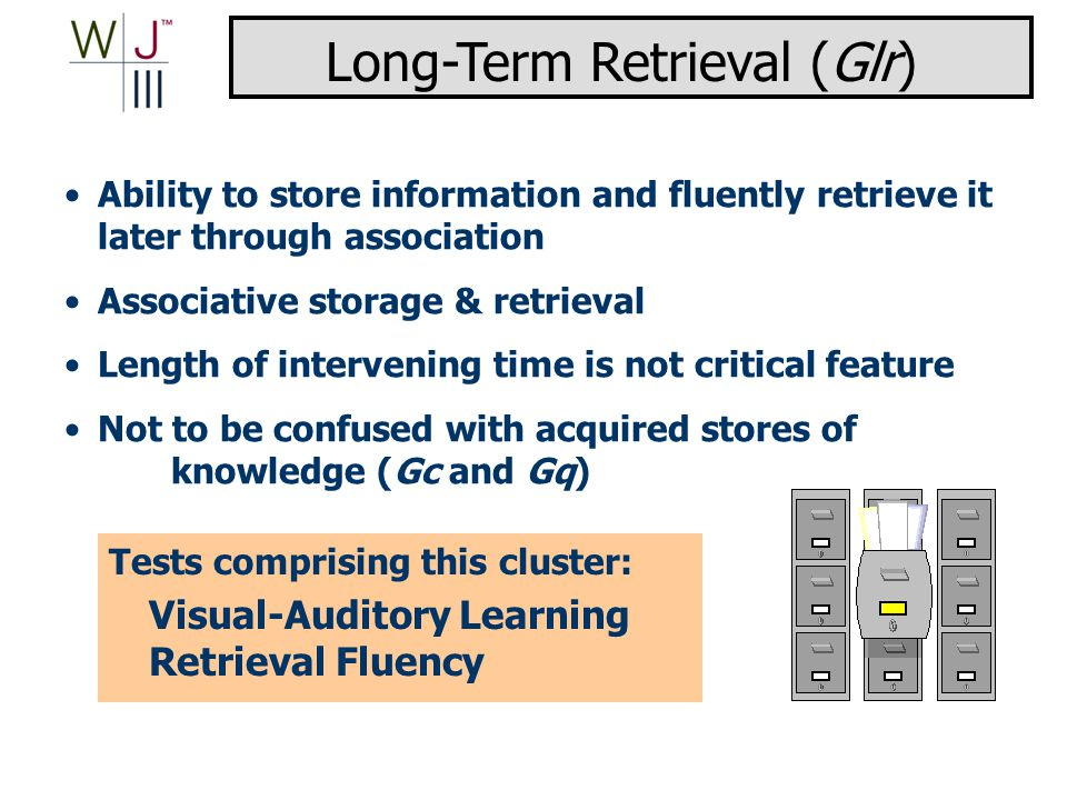 Ability to store information and fluently retrieve it later through association Associative storage & retrieval Length of intervening time is not critical feature Not to be confused with acquired stores of knowledge (Gc and Gq) Tests comprising this cluster: Visual-Auditory Learning Retrieval Fluency Long-Term Retrieval (Glr)
