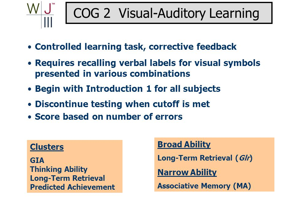 Clusters GIA Thinking Ability Long-Term Retrieval Predicted Achievement Broad Ability Long-Term Retrieval (Glr) Narrow Ability Associative Memory (MA) Controlled learning task, corrective feedback Requires recalling verbal labels for visual symbols presented in various combinations Begin with Introduction 1 for all subjects Discontinue testing when cutoff is met Score based on number of errors COG 2 Visual-Auditory Learning