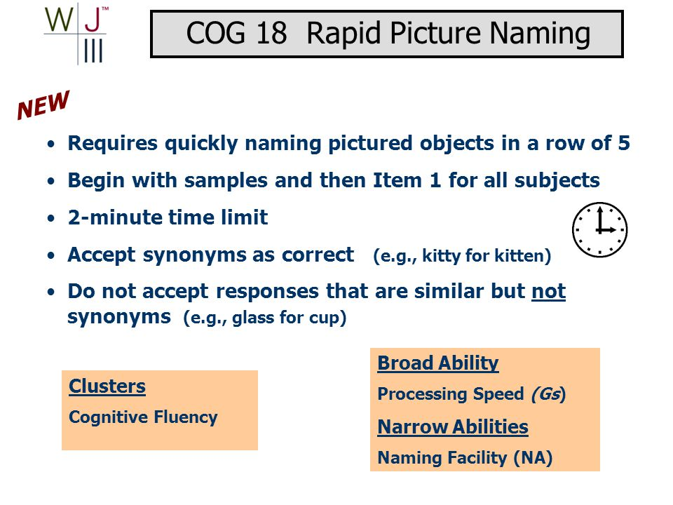 Requires quickly naming pictured objects in a row of 5 Begin with samples and then Item 1 for all subjects 2-minute time limit Accept synonyms as correct (e.g., kitty for kitten) Do not accept responses that are similar but not synonyms (e.g., glass for cup) Clusters Cognitive Fluency Broad Ability Processing Speed (Gs) Narrow Abilities Naming Facility (NA) NEW COG 18 Rapid Picture Naming