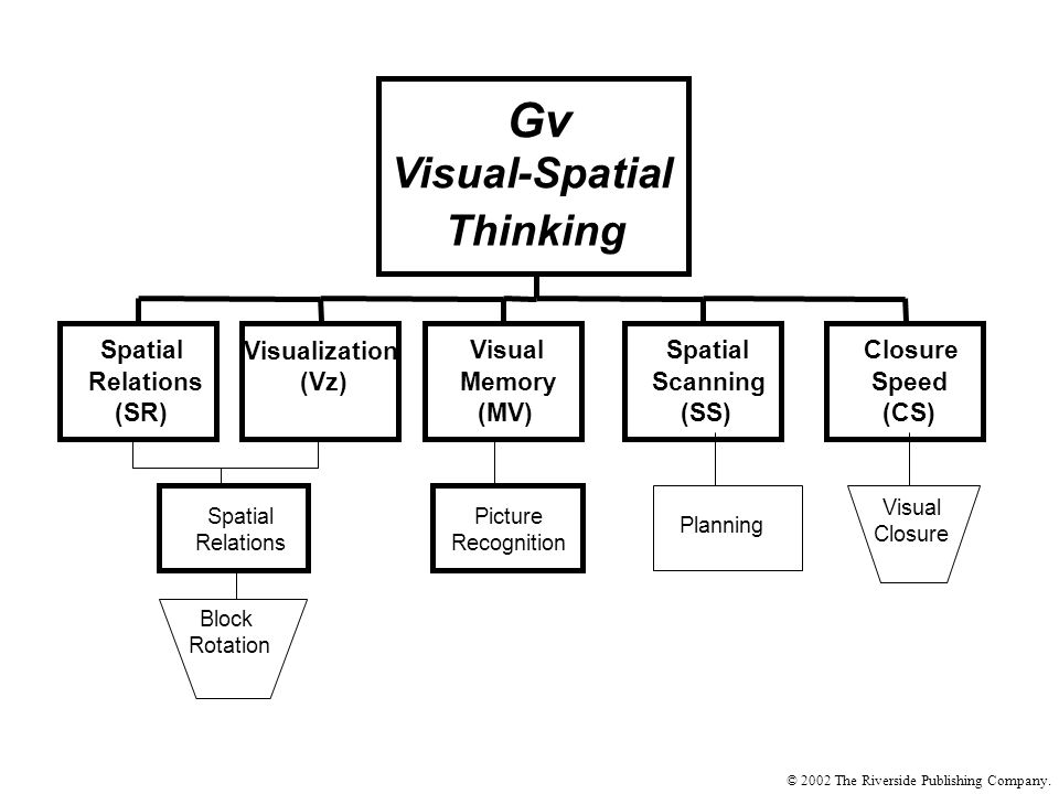 Spatial Relations (SR) Visualization (Vz) Visual Memory (MV) Spatial Scanning (SS) Closure Speed (CS) Gv Visual-Spatial Thinking Planning Picture Recognition Spatial Relations Visual Closure Block Rotation © 2002 The Riverside Publishing Company.
