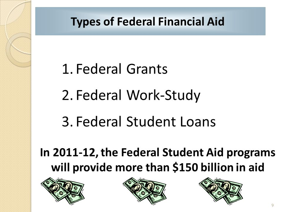 1.Federal Grants 2.Federal Work-Study 3.Federal Student Loans Types of Federal Financial Aid In 2011-12, the Federal Student Aid programs will provide