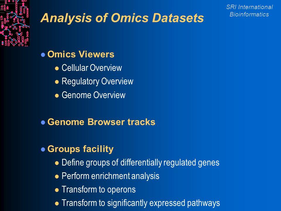 SRI International Bioinformatics Analysis of Omics Datasets Omics Viewers l Cellular Overview l Regulatory Overview l Genome Overview Genome Browser t