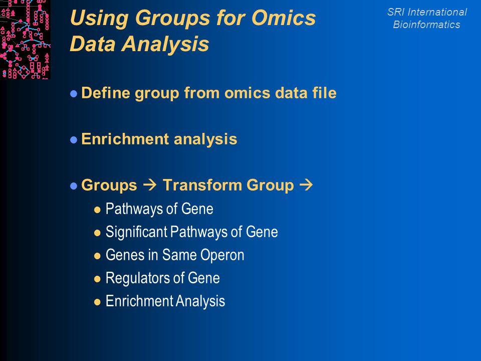 SRI International Bioinformatics Using Groups for Omics Data Analysis Define group from omics data file Enrichment analysis Groups  Transform Group 