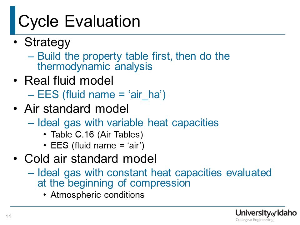 Cycle Evaluation Strategy –Build the property table first, then do the thermodynamic analysis Real fluid model –EES (fluid name = 'air_ha') Air standard model –Ideal gas with variable heat capacities Table C.16 (Air Tables) EES (fluid name = 'air') Cold air standard model –Ideal gas with constant heat capacities evaluated at the beginning of compression Atmospheric conditions 14