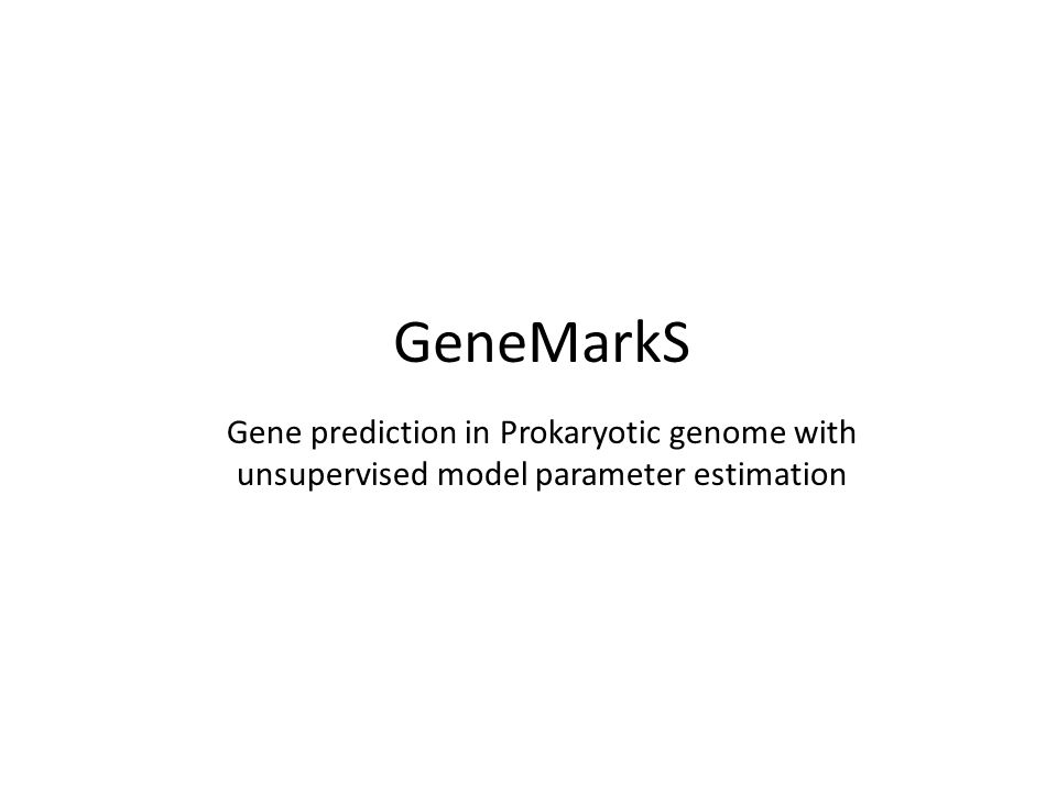 GeneMarkS Gene prediction in Prokaryotic genome with unsupervised model parameter estimation