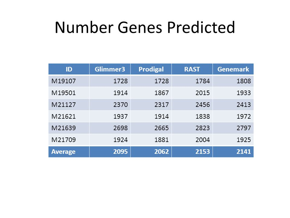 Number Genes Predicted IDGlimmer3ProdigalRASTGenemark M191071728 17841808 M195011914186720151933 M211272370231724562413 M216211937191418381972 M216392