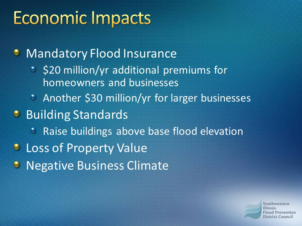 Mandatory Flood Insurance $20 million/yr additional premiums for homeowners and businesses Another $30 million/yr for larger businesses Building Standards Raise buildings above base flood elevation Loss of Property Value Negative Business Climate