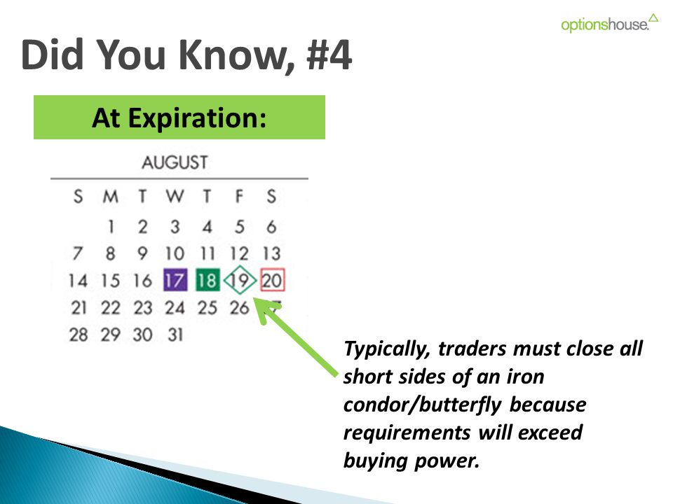 Did You Know, #4 At Expiration: Typically, traders must close all short sides of an iron condor/butterfly because requirements will exceed buying power.