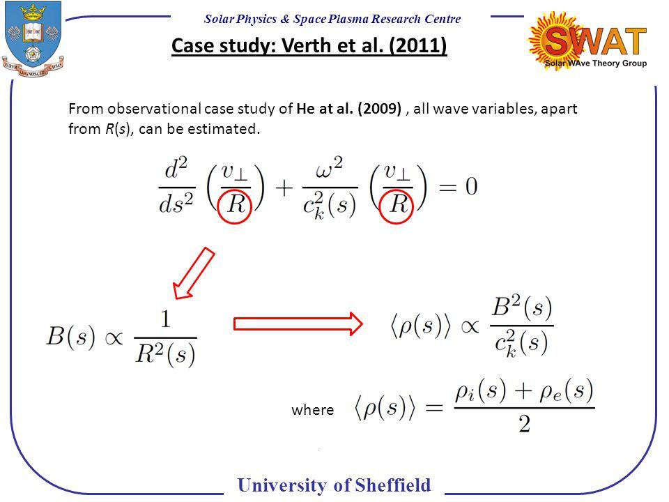 Solar Physics & Space Plasma Research Centre University of Sheffield Case study: Verth et al.