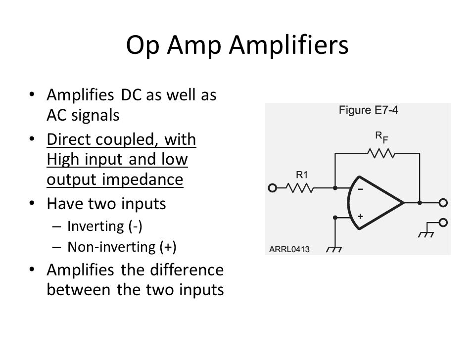 Op Amp Amplifiers Amplifies DC as well as AC signals Direct coupled, with High input and low output impedance Have two inputs – Inverting (-) – Non-in