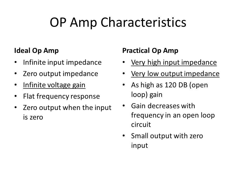 OP Amp Characteristics Ideal Op Amp Infinite input impedance Zero output impedance Infinite voltage gain Flat frequency response Zero output when the