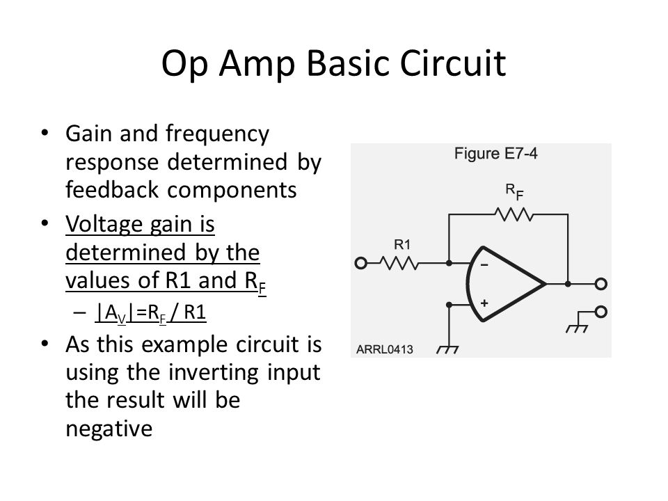 Op Amp Basic Circuit Gain and frequency response determined by feedback components Voltage gain is determined by the values of R1 and R F – |A V |=R F