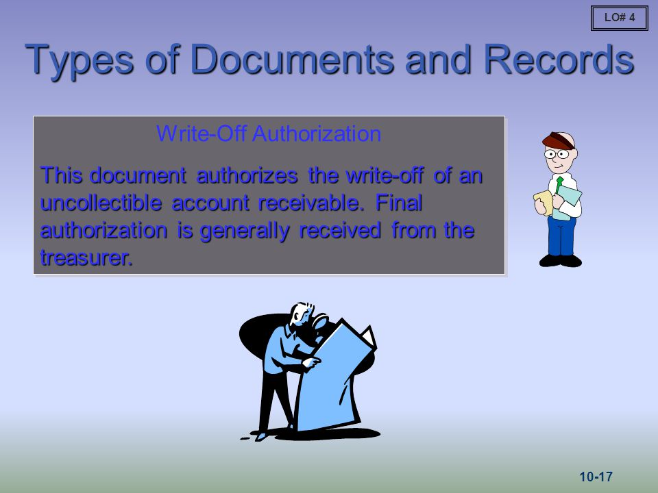 Write-Off Authorization This document authorizes the write-off of an uncollectible account receivable. Final authorization is generally received from