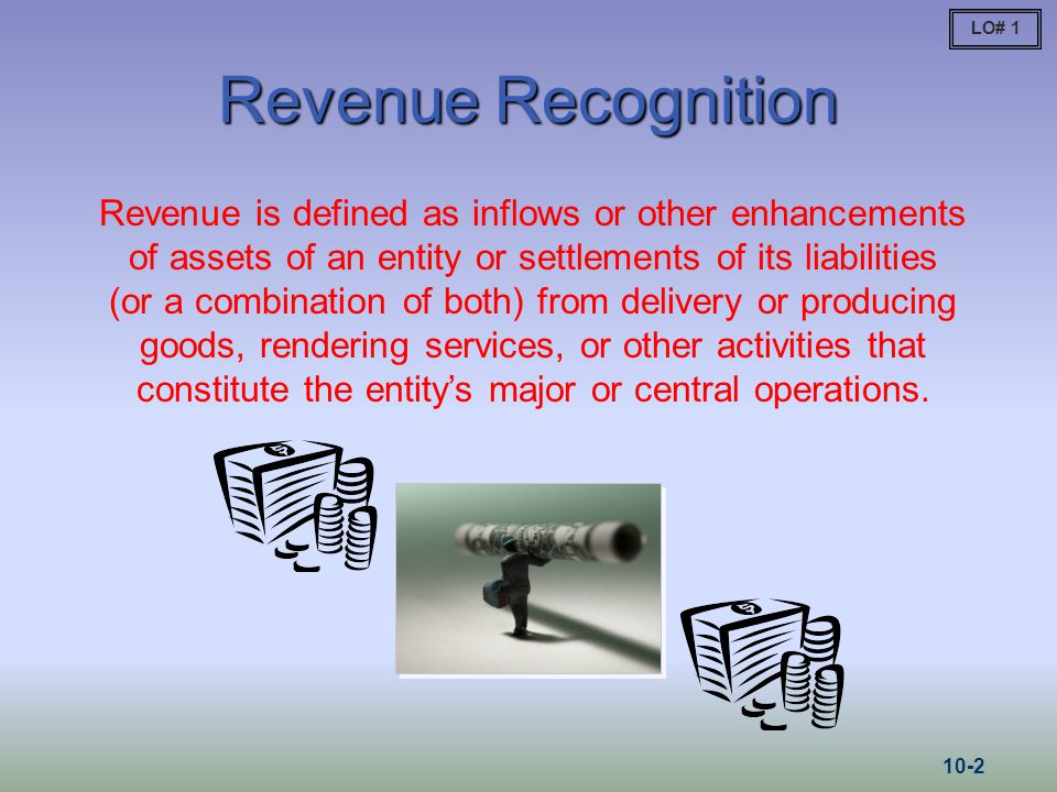 Revenue Recognition Revenue is defined as inflows or other enhancements of assets of an entity or settlements of its liabilities (or a combination of