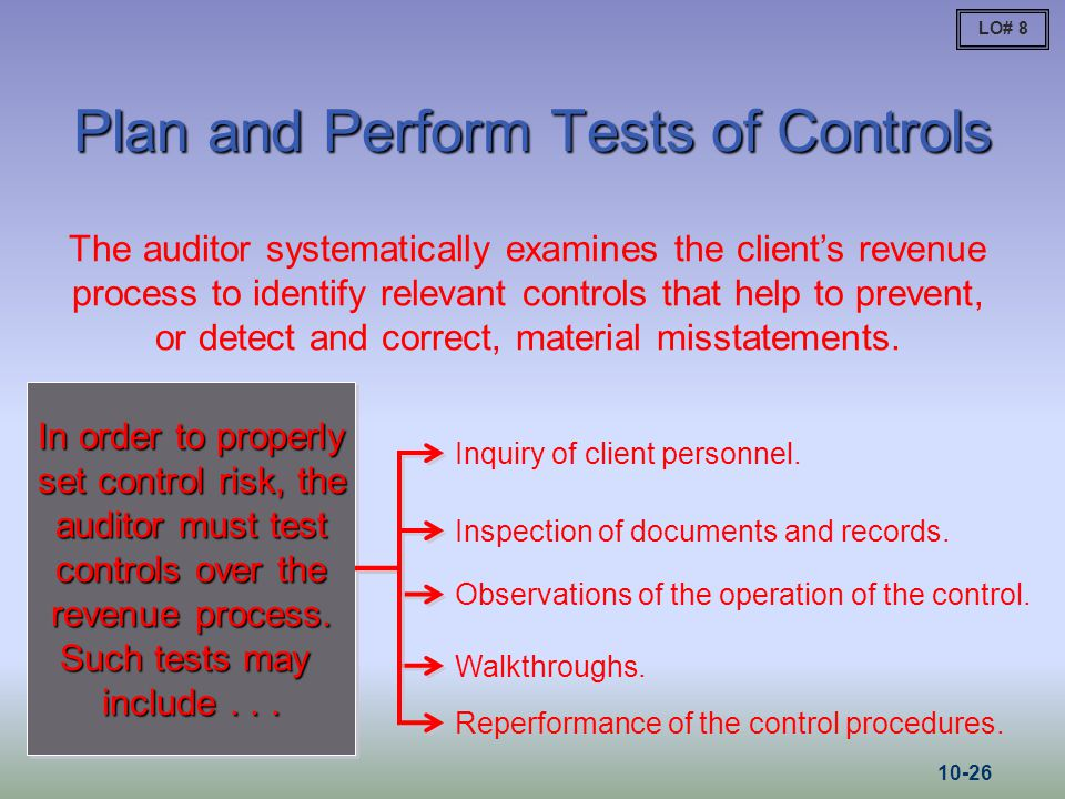 Plan and Perform Tests of Controls The auditor systematically examines the client's revenue process to identify relevant controls that help to prevent