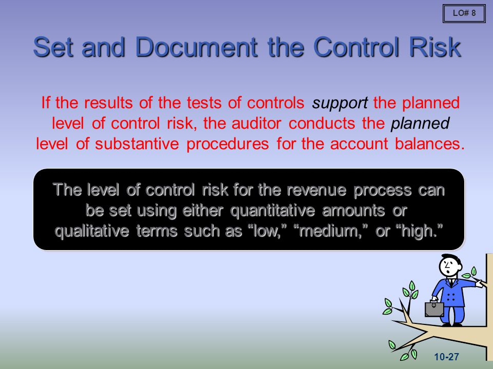 Set and Document the Control Risk If the results of the tests of controls support the planned level of control risk, the auditor conducts the planned
