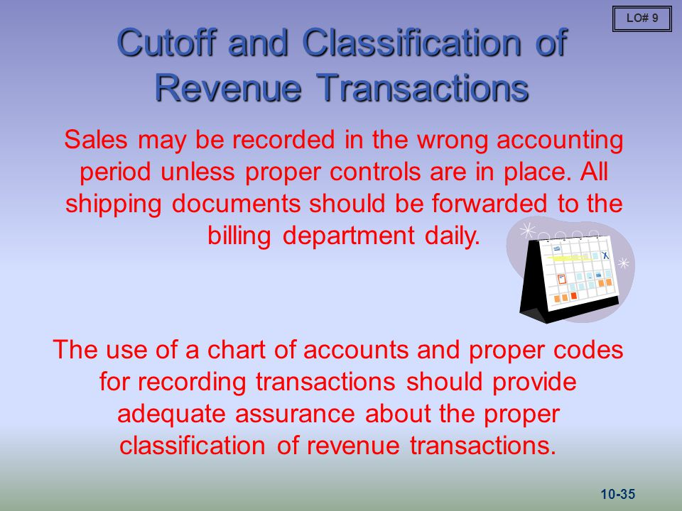 Cutoff and Classification of Revenue Transactions Sales may be recorded in the wrong accounting period unless proper controls are in place. All shippi
