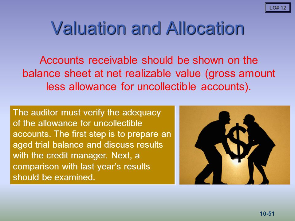 Valuation and Allocation Accounts receivable should be shown on the balance sheet at net realizable value (gross amount less allowance for uncollectib