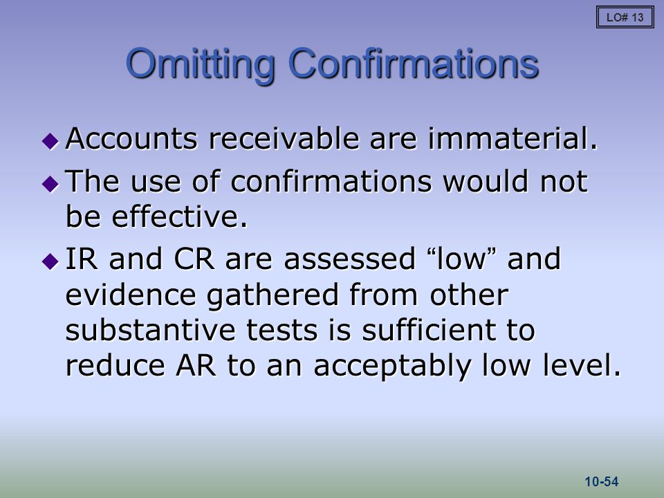 "Omitting Confirmations  Accounts receivable are immaterial.  The use of confirmations would not be effective.  IR and CR are assessed ""low"" and evi"