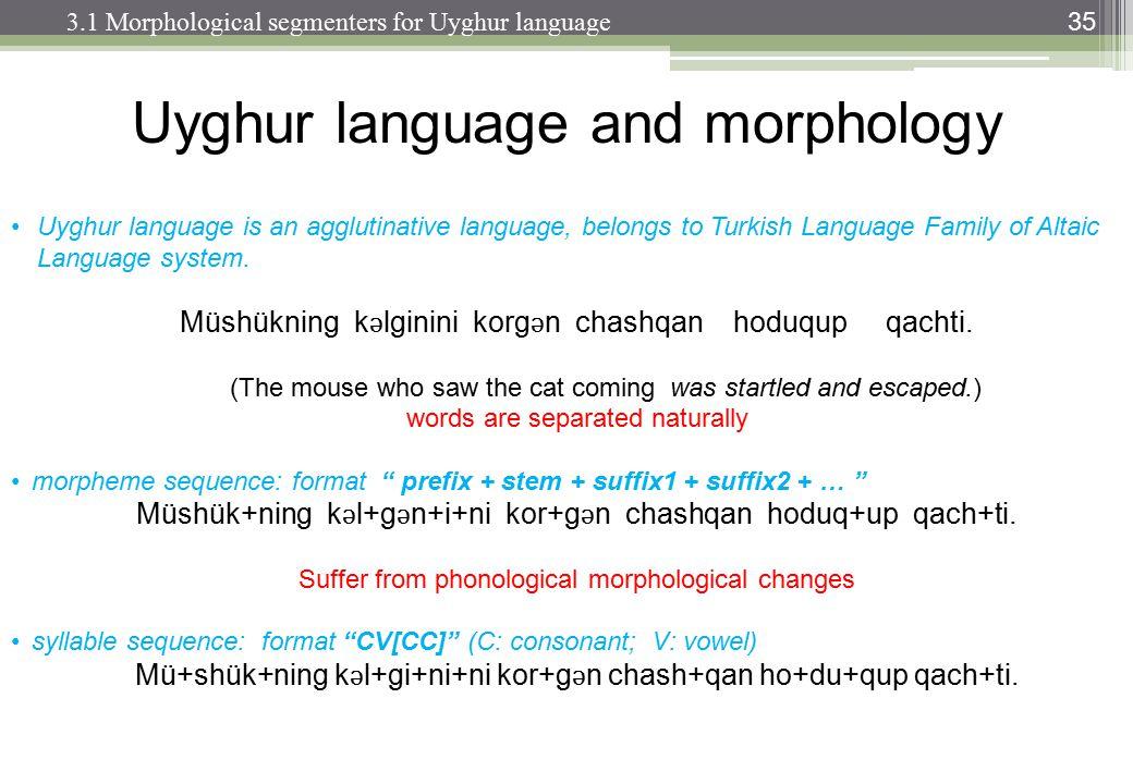 35 Uyghur language is an agglutinative language, belongs to Turkish Language Family of Altaic Language system.
