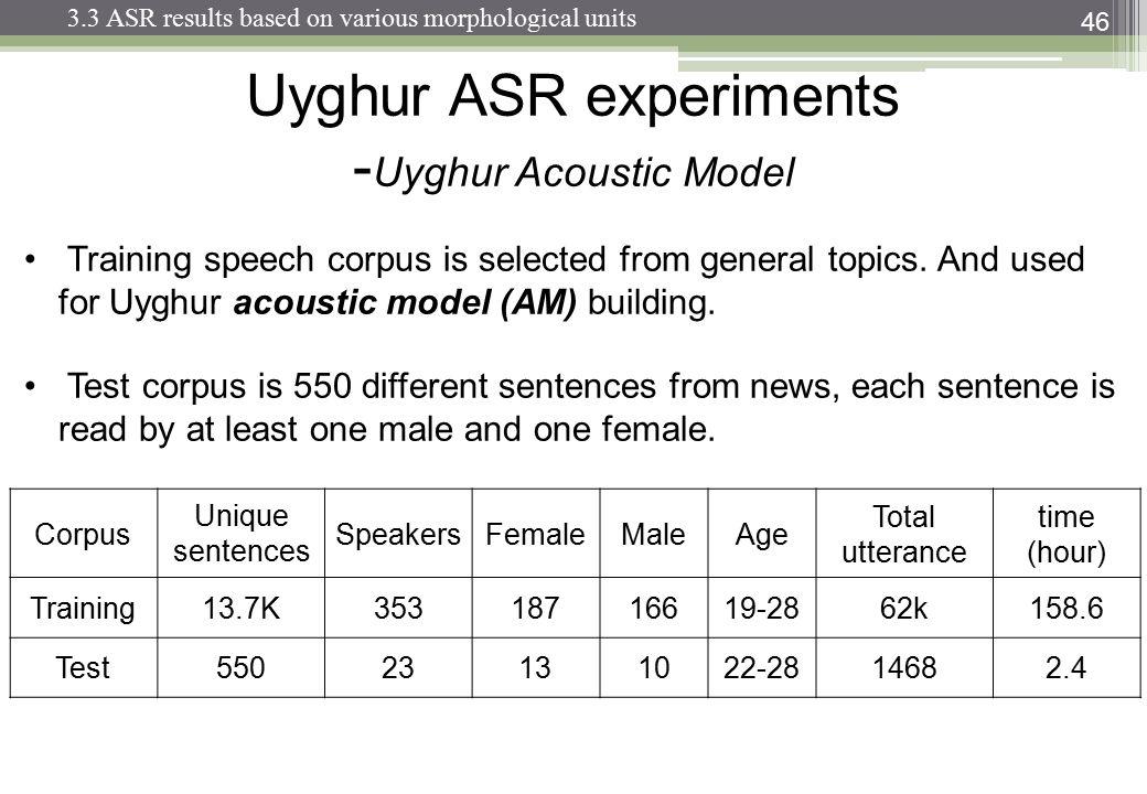 46 Uyghur ASR experiments - Uyghur Acoustic Model Training speech corpus is selected from general topics.
