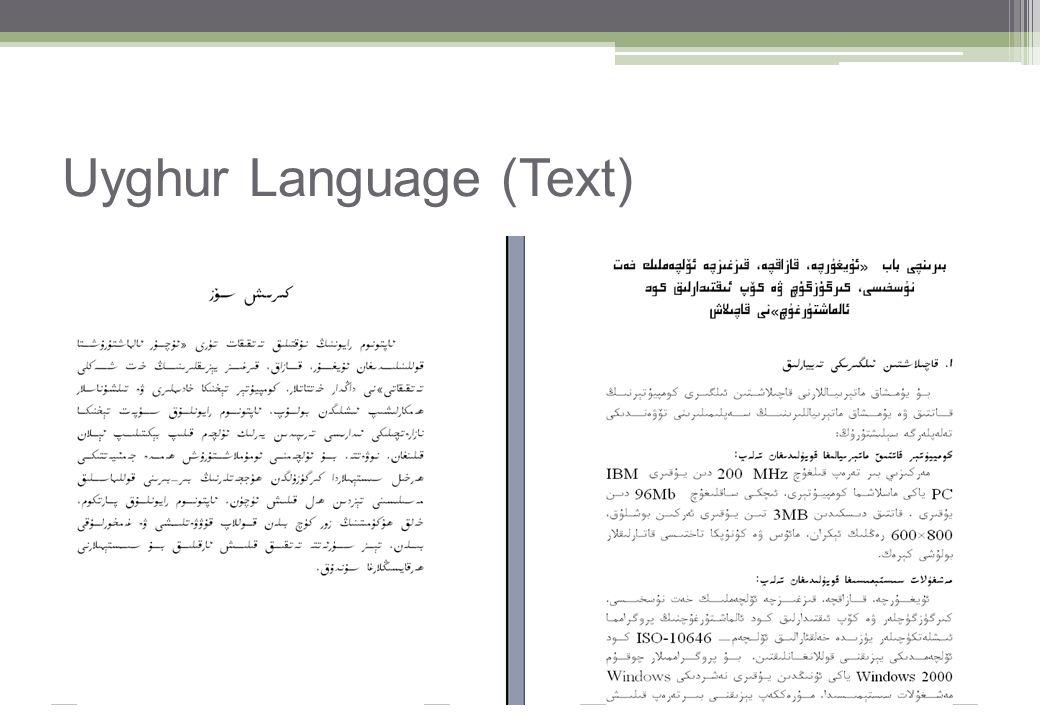 Uyghur Language (Text)