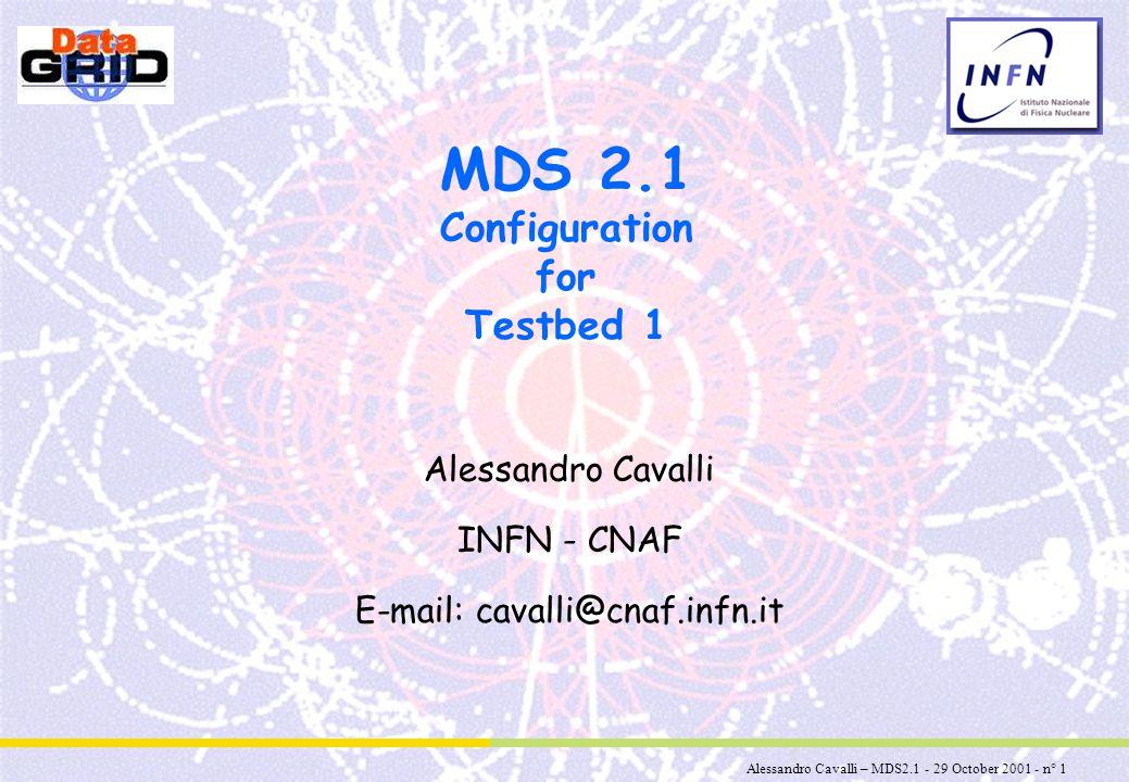 Alessandro Cavalli – MDS2.1 - 29 October 2001 - n° 2 Summary u New features of MDS 2.1 u Hierarchical GIIS and Virtual Organizations u MDS EDG Distribution: configuring /etc/globus.conf u Querying MDS u TODO u Documentation