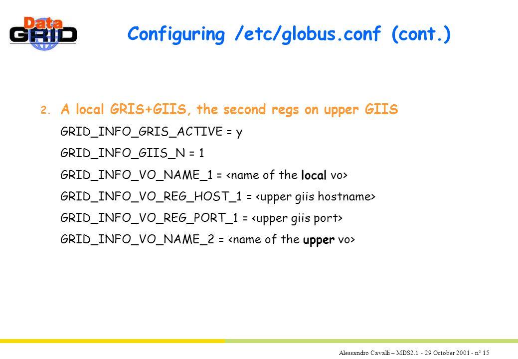 Alessandro Cavalli – MDS2.1 - 29 October 2001 - n° 15 Configuring /etc/globus.conf (cont.) 2.