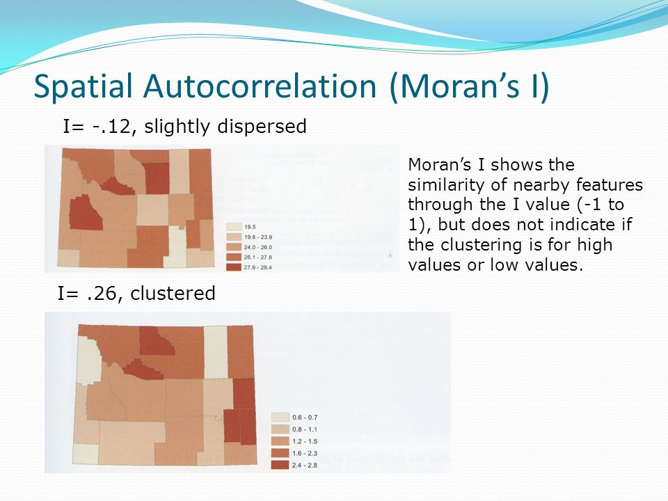 Spatial Autocorrelation (Moran's I) Moran's I shows the similarity of nearby features through the I value (-1 to 1), but does not indicate if the clus