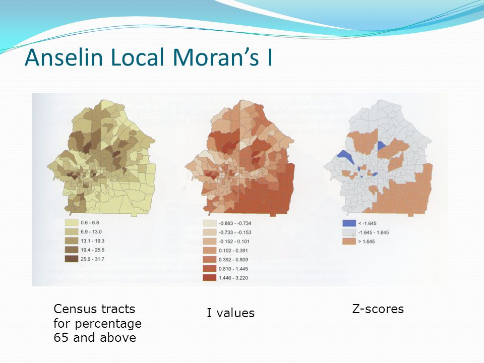 Anselin Local Moran's I Census tracts for percentage 65 and above I values Z-scores