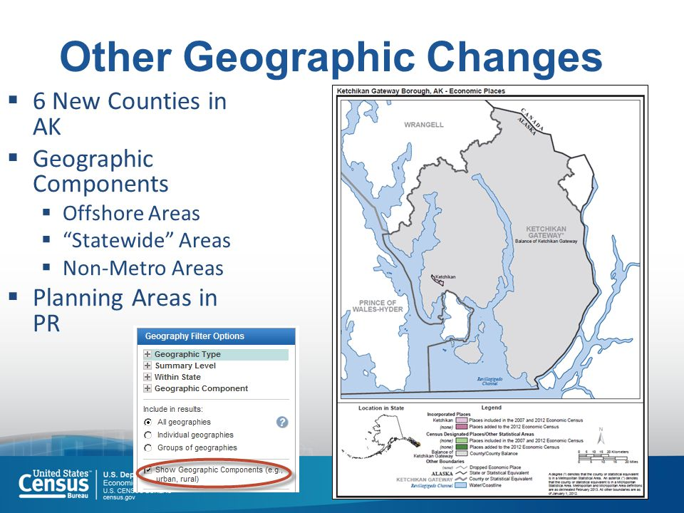 "7 Other Geographic Changes  6 New Counties in AK  Geographic Components  Offshore Areas  ""Statewide"" Areas  Non-Metro Areas  Planning Areas in P"