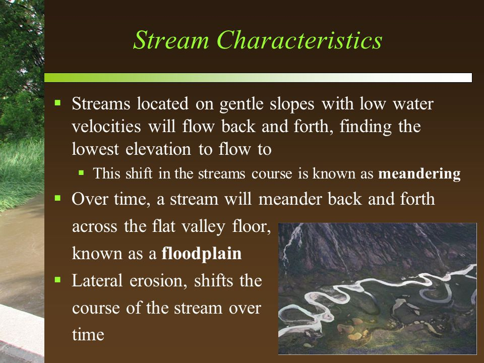 Stream Characteristics  Streams located on gentle slopes with low water velocities will flow back and forth, finding the lowest elevation to flow to  This shift in the streams course is known as meandering  Over time, a stream will meander back and forth across the flat valley floor, known as a floodplain  Lateral erosion, shifts the course of the stream over time