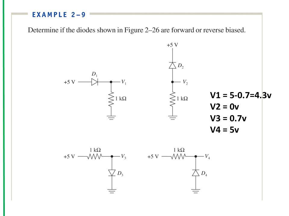 V1 = 5-0.7=4.3v V2 = 0v V3 = 0.7v V4 = 5v