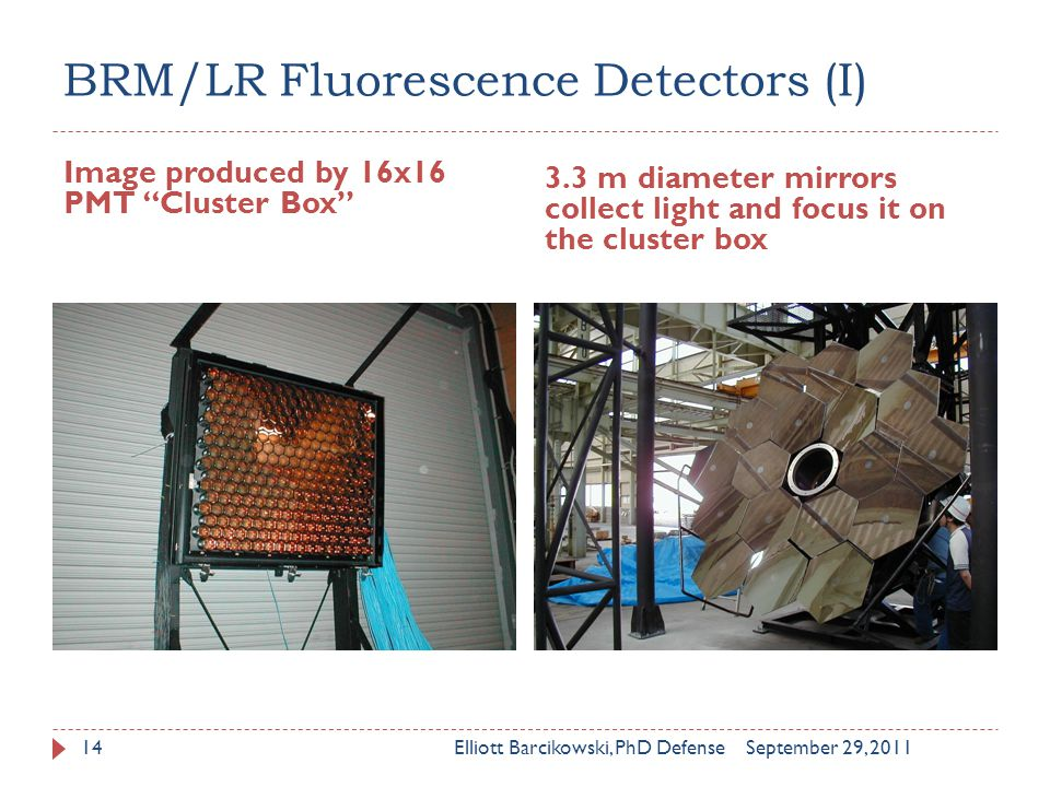 BRM/LR Fluorescence Detectors (I) Image produced by 16x16 PMT Cluster Box 3.3 m diameter mirrors collect light and focus it on the cluster box September 29, 2011Elliott Barcikowski, PhD Defense14