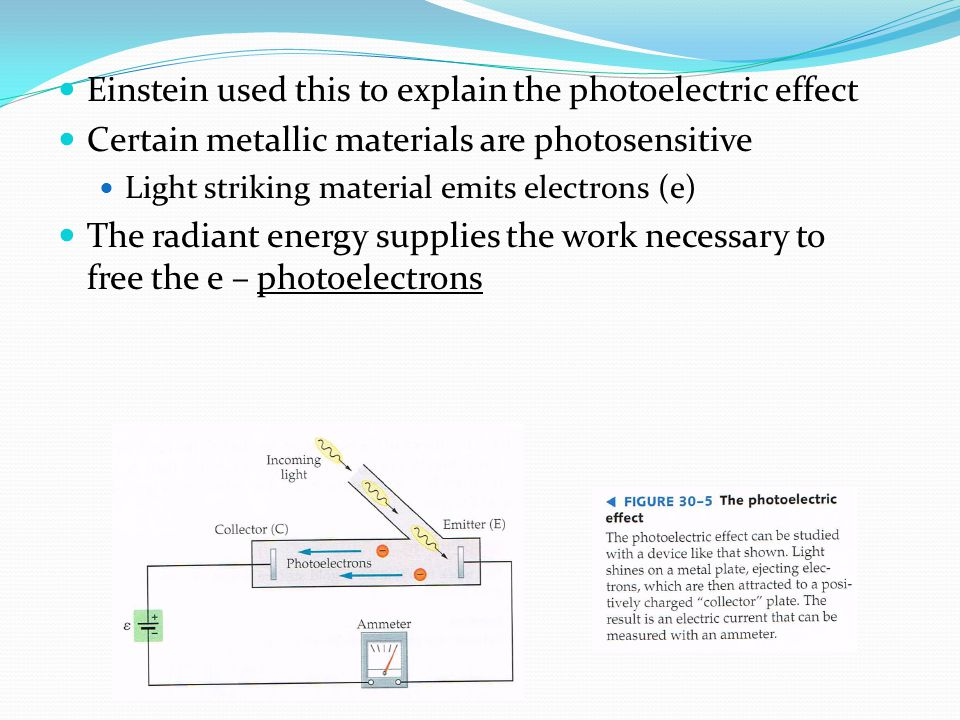 Einstein used this to explain the photoelectric effect Certain metallic materials are photosensitive Light striking material emits electrons (e) The radiant energy supplies the work necessary to free the e – photoelectrons