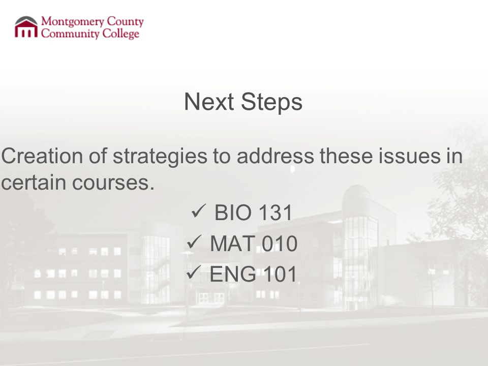 Next Steps Creation of strategies to address these issues in certain courses. BIO 131 MAT 010 ENG 101
