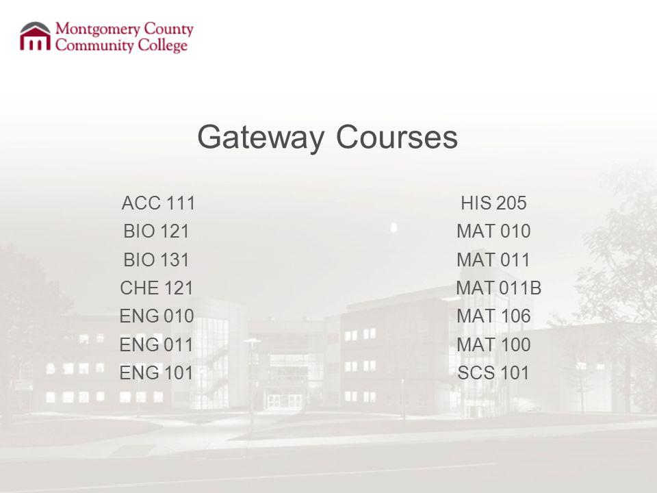 Gateway Courses ACC 111 BIO 121 BIO 131 CHE 121 ENG 010 ENG 011 ENG 101 HIS 205 MAT 010 MAT 011 MAT 011B MAT 106 MAT 100 SCS 101
